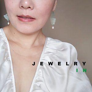 Auspicious patterns Jade stone Hanging Earring